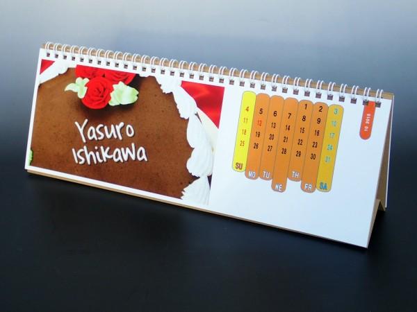 卓上名前入りカレンダー オレンジ(Lサイズ)