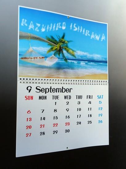 名前入り壁掛けカレンダー ポップ(A3サイズ)中身